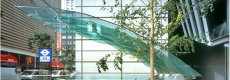 Tokyo glass and acrylic cantilevered structure, Dewhurst Macfarlane
